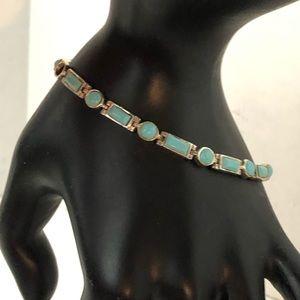 Elegant turquoise & Sterling silver link bracelet